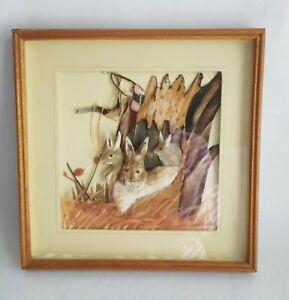 "Antique Rabbit Feather Art Wall Hanging Handmade Folk Art Collectible 10 3/8"""