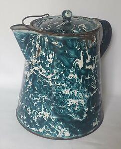 Antique Enamelware / Graniteware Large Chrysolite Coffee Pot