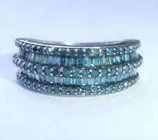 10ct White Gold 1.00ct Blue Diamond Pave Set Band Ring, Size P