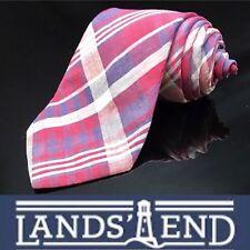 """LANDS' END MEN'S TIE RED & NAVY BLUE/STRIPED 3.25"""" USA Vintage"""