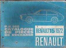 Renault 15 1972 original illustrated factory parts catalogue P.R.960