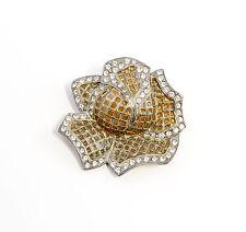925er Silber emaillierte Brosche mit Swarovski-Steinen floral 9901554