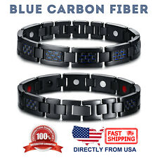 Men's Titanium Carbon Fiber & 4 Elements Magnetic Therapy Energy Link Bracelet
