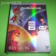 ZOOTROPOLIS - BIG HERO 6 - EL REY LEON - DISNEY DVD PACK NUEVO Y PRECINTADO