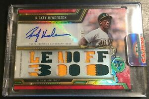 2020 Topps Triple Threads Rickey Henderson True 1/1 Game Used Patch & Auto
