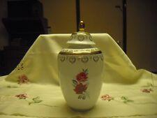 Hertal Jacob Urn, Ginger Jar, Vase Rose  Motif With Gold Accents