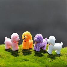 4PCS Miniature Curly Dog Figurine Fairy Garden Plant Ornament DIY Craft Random