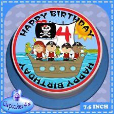 PRECUT BIRTHDAY 7.5 INCH ROUND CAKE TOPPER BLUE PIRATE AGE 4 RICE PAPER 8808L4