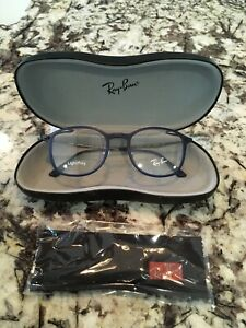 NEW AUTHENTIC EYEGLASSES RAY BAN RB7051 5451 LIGHTRAY BLUE / GUNMETAL 49-20-140