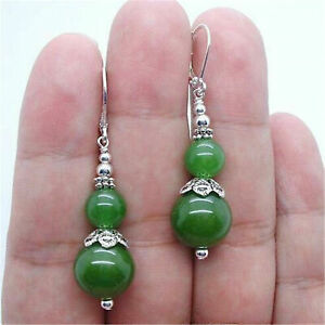 Green Emerald gemstone Tibet Silver Stud Earring Pair Jewelry Handmade jewelry