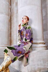 Beige Winter Layering Designer Arty  Boho Loose Edgy Midi Jumper Dress  10 12