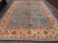 Traditional Hand Made Afghan Zigler Oriental Wool Light Blue Carpet 365x277cm