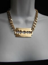 Women Gold Fashion Necklace Razor Shaver Big Pendant Trendy Design Wide Chains