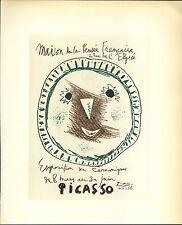 1959 Mini Poster Lithograph ORIG Print Pablo Picasso Ceramics Ceramiques Pensee