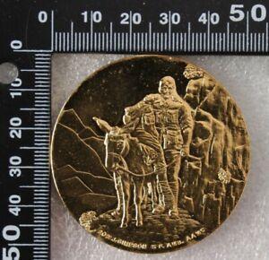Australia: 1990 75th Anniversary of ANZAC Simpson & Donkey medal gold gilt