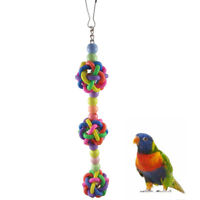 EE_ FM- Colorful Ball Pet Bird Parrot Chewing Bite Play Toy Cage Hanging Decorat