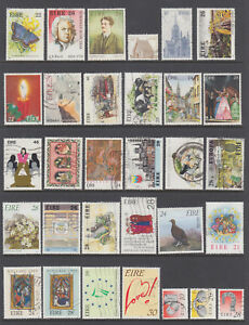 Ireland Sc 612/779 used. 1985-90 issues, 31 better singles, sound, F-VF group.