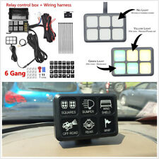 6 LED Switch Panel Relay Control Box+Wiring Harness For Car Truck With 12V Power