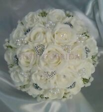 Ivory, White & Silver Wedding Bouquet Gypsophila Hearts Beads Satin Handcrafted