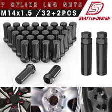 32 Black Spline Lock Wheel Lug Nuts 14x1.5 for Silverado 1500 2500 3500 + 2 KEYS