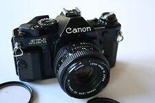CANON AE-1 PROGRAM BLACK 35MM SLR W/ FD 50MM F/1.8 LENS