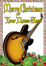 Semi Acoustic Sunburst ptcc26 Christmas Xmas A5 Personalised Greeting card