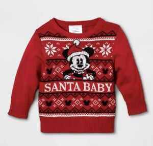 Nwt Baby Disney Mickey Mouse Christmas Sweater 3-6 M