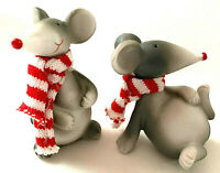 Christmas Mice With Scarves Different Positions