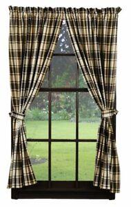 "MOSS WOOD Short Panel Set Olive Green/black/Tan Primitive Curtains 63"" Plaid"