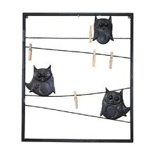 Home and Garden Metal Wall Art Wall Hanging Frame With Owl and Pegs Clips Holder
