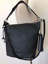 Michael Kors Elana Black MK Monogram Large Convertible Shoulder Bag Tote NWT