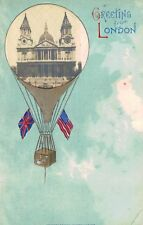 Greetings fron London,U.K.Balloon,St.Paul's Cathedral,US-UK Flags,Embossed,1909