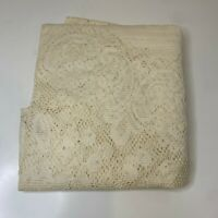 vintage tablecloth Oval shaped 69x73 color cream off white floral and circle
