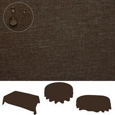 Tischdecke leinen OPTIK Lotuseffekt Fleckschutz 160x220 oval Taupe braun