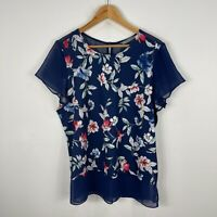 Katies Womens Top Large Blue Floral Short Sleeve Round Neck