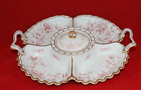 Antique Porcelain 5 Section Serving Platter Tray With Handles & Lid Hand Painted