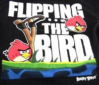 Angry Birds FLIPPING THE BIRD Black Tee T-shirt Short Sleeve Size Small
