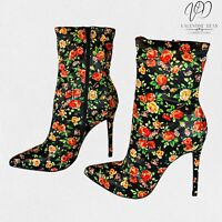 JustFab Women's Ankle Boots Illiana Floral Satin Sock Booties Size 5 Uk
