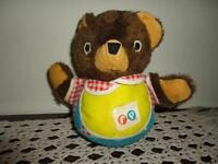 Vintage 1970s Fisher Price Roly Poly Baby Cub Chime Teddy Bear Swivel Head