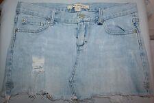 """Forever 21 Light Blue Jean Mini Skirt Fringe Edges Size 25"""" Waist  Rodeo Country"""