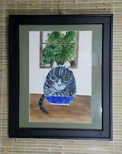 CAT BEHIND FISHBOWL ORIGINAL WATERCOLOR  PAINTING BY ASTRID MARTINDALE 19X23