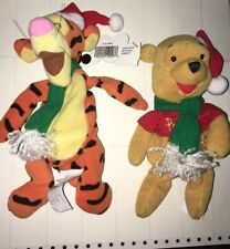 "DISNEY MOUSEKETOYS WINNIE POOH CHRISTMAS SANTA TIGGER 8"" PLUSH BEAN BAG TOY"