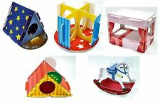 3 x Play n Chew Cardboard Toy Hamster Gerbil Mouse - Bed, Tent, Slide, Rocking