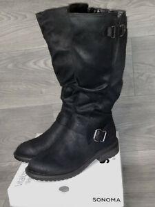 Tall Riding Boots Wide Calf Womens Size 9 NIB Black Buckle Accent Sonoma Rumer