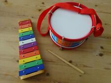 Child's Percussion Set Drum with neck strap Xylophone Wooden bases. Multi colour