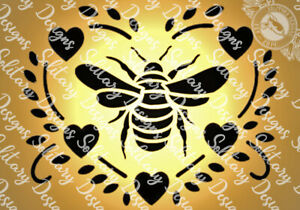 Bumble Bee love Heart A5 stencil shabby chic Vintage for wall furniture craft