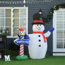 Christmas Inflatable Snowman Penguin North Pole Sign Outdoor w/ Accessories