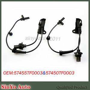 Pair of ABS Wheel Speed Sensors Front Left + Right For Honda Fit CR-Z Insight