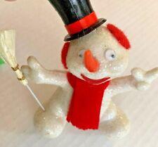Mid Century Christmas Tree Ornament Frosty Snowman Flocked Glitter White