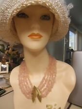 ESTATE 18K GOLD LEAF MOTIF MULTI STRAND PINK QUARTZ NECKLACE & BRACELET SET 248G